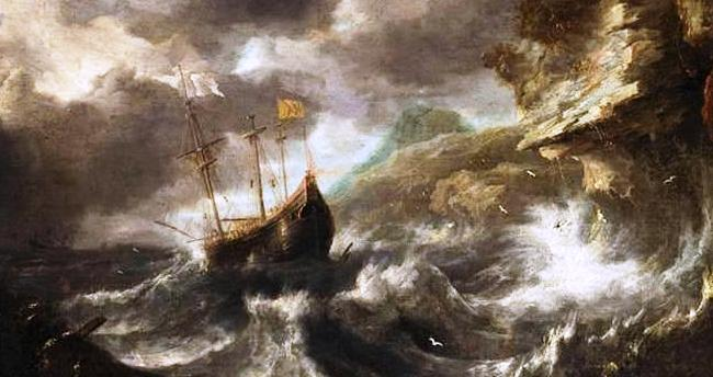 Bonaventura-I-Peeters-Shipping-in-a-Tempest-off-a-Rocky-Coast